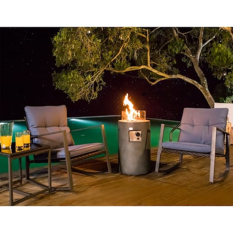 COSIEST 4-Piece Outdoor Patio Bistro Set With Cushions, Fire Pit Table