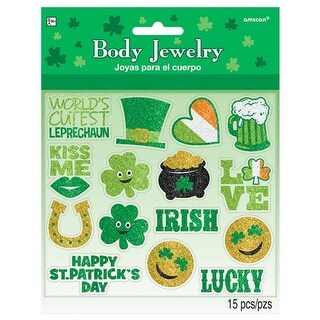 Amscan 399466 St. Patricks Day Body Jewelry with Glitter - Pack of 30