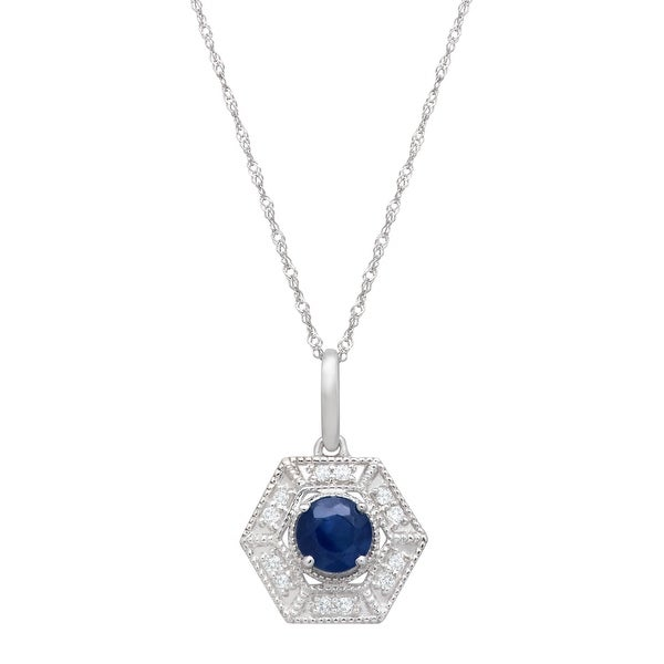 3/8 ct Natural Kanchanaburi Sapphire & 1/10 ct Diamond Hexagon Pendant Necklace in 14K White Gold