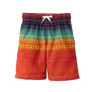 Azul Little Boys Red Blue Before Sunrise Print Drawstring Tie Swim Shorts