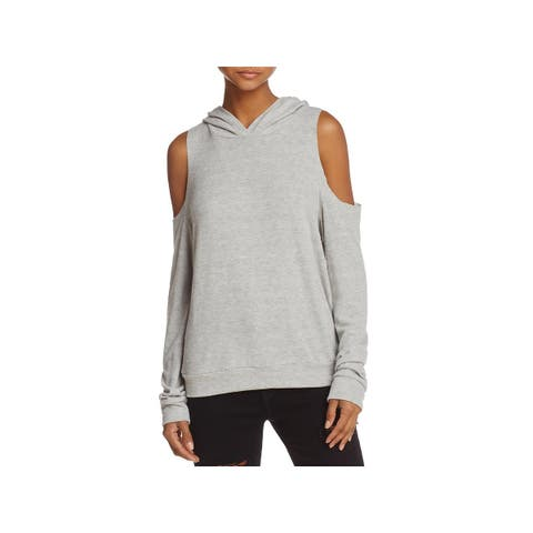 Project Social T Womens Hoodie Heathered Cold Shoulder