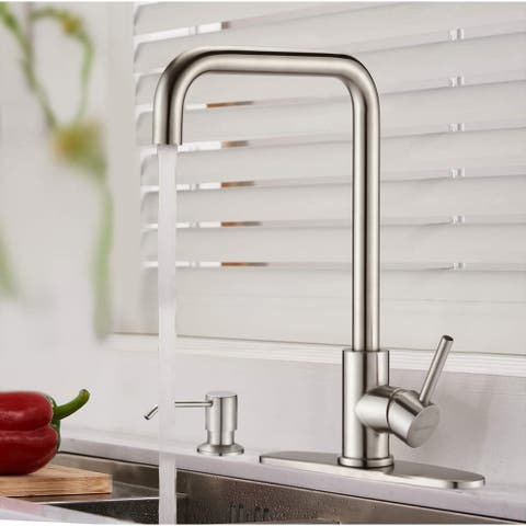 Single Handle Brushed Nickel High Arc Kitchen Sink Faucets - 8.66*11.06*14.29