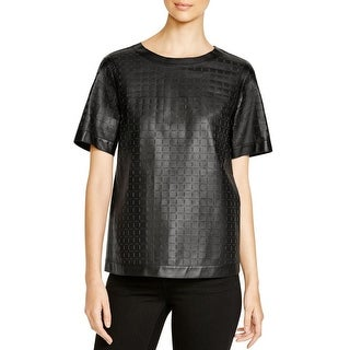 Lafayette 148 Womens Rylan Pullover Top Leather Laser Cut