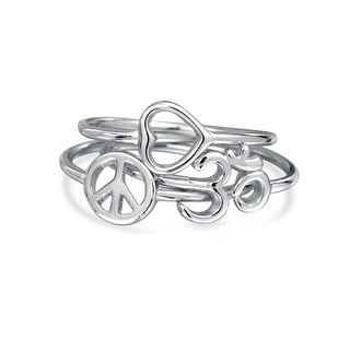 Peace Love Heart Ohm Stackable Midi Rings Set 925 Silver
