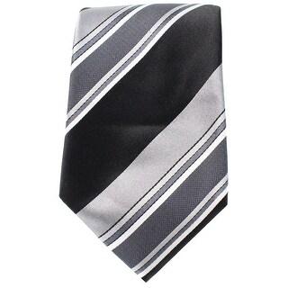 Countess Mara NEW Black Gunmetal Charles Wide Striped Mens Silk Necktie