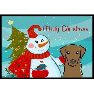 Carolines Treasures BB1854JMAT Snowman With Chocolate Labrador Indoor & Outdoor Mat 24 x 36 in.