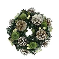 "11"" Green Mini Pine Cone and Wooden Rose Artificial Christmas Wreath - Unlit"