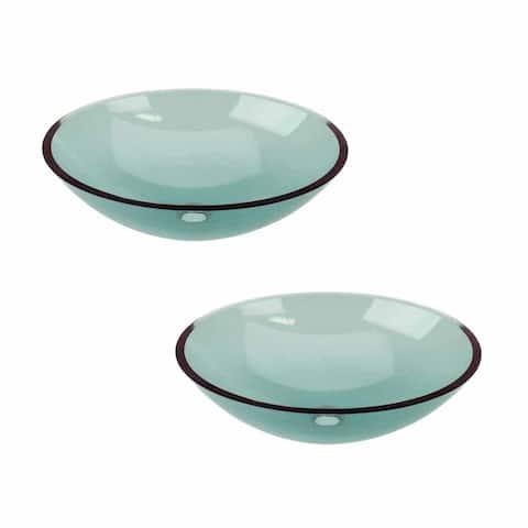 2 Green Glass Vessel Bathroom Oval Sink Pop-up In