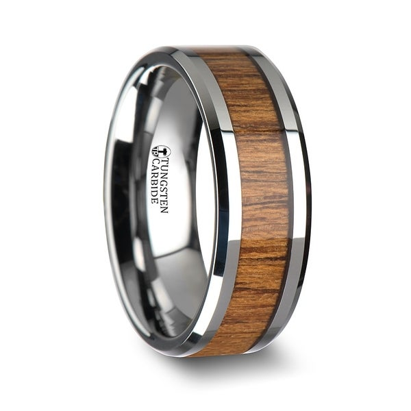 THORSTEN - TEKKU Wood Tungsten Ring with Polished Bevels and Teak Wood Inlay
