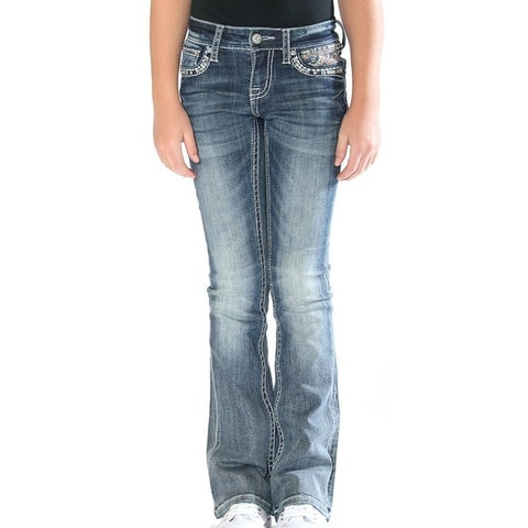 Grace in LA Denim Jeans Girls Embroidery Bootcut Med Wash