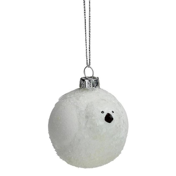 """2.5"""" Wintery White Frosted Bird Glass Christmas Ornament"""