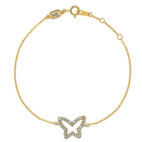 Suzy Levian 14K Yellow Gold & .30 cttw Diamond Butterfly Solitaire Bracelet