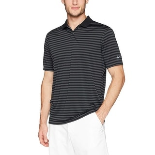 NIKE Men S Dry Victory Stripe Polo Golf Black Anthracite Cool Grey Size Medium