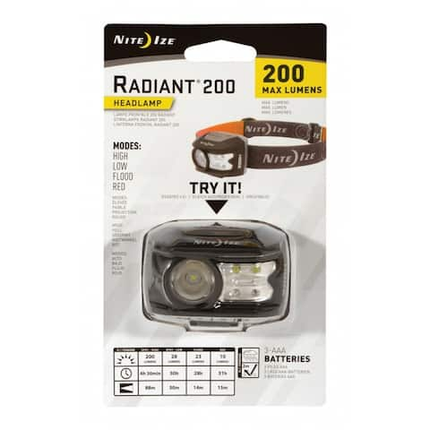 Nite Ize R200H-09-R7 Radiant LED Head Lamp, Black/Grey, 200 Lumens