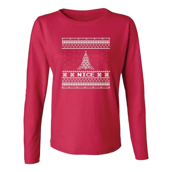 d9ec5eb641d38c Shop Nice Christmas Patterns Pine Tree Snowflakes Women's Long Sleeve -  Free Shipping On Orders Over $45 - Overstock - 19759420