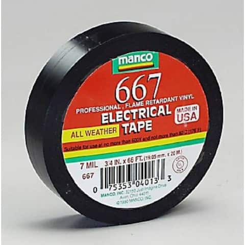 """Duck 667 Professional Electrical Tape, 3/4"""" x 66', Black"""