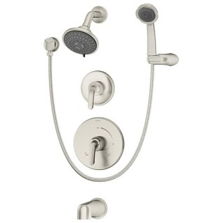 Symmons 5506-TRM Elm Tub and Shower Trim Only Package with Multi Function Shower Head and Hand Shower and Double Lever Handles -