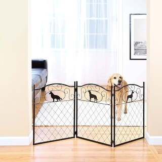 "Metal Dog Silhouette Pet Dog Gate - Free Standing Tri-Fold - 23"" Tall 52"" Wide"
