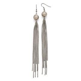 Chisel Stainless Steel Polished Diamond Cut Bead with Tassel Earrings