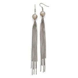 Chisel Stainless Steel Polished Diamond Cut Bead with Tassel Earrings