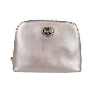Gucci Women's Interlocking G Pink Leather Large Pouch with Heart Clutch Bag 338189 5711