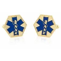 Emt Star Of Life Blue Goldtone Cufflinks