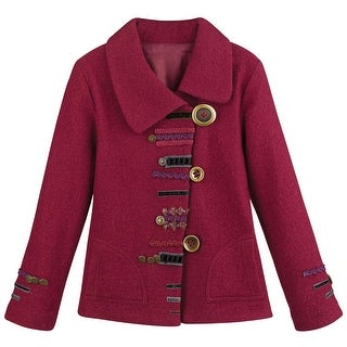 Women's Red Parade Jacket - 100% Wool Artistic Military Styled Coat