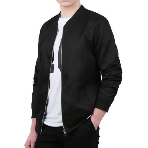 Unique Bargains Men's Stand Collar Argyle Design Zippered Long Sleeves Jacket