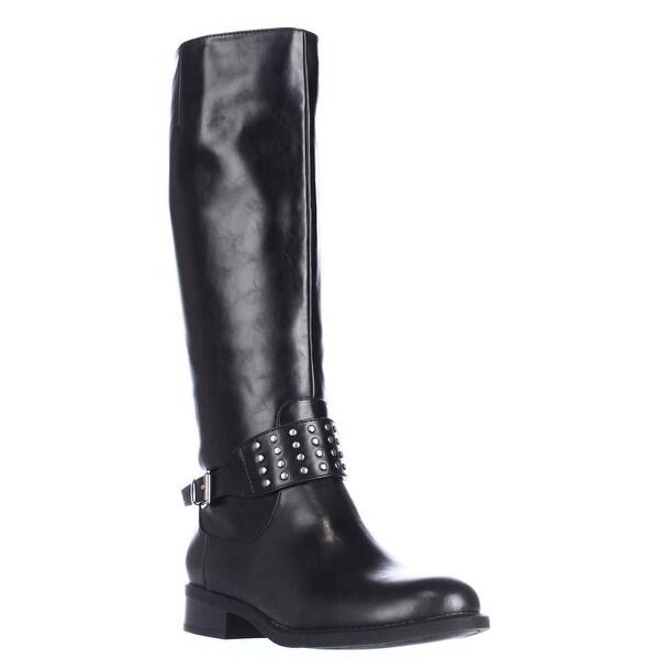 AL35 Jaycee Strap Studded Knee High Boots, Black