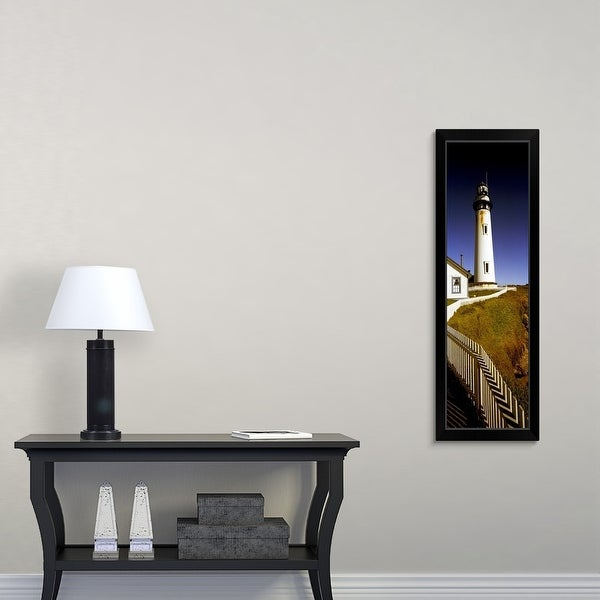 """Lighthouse on a cliff, Pigeon Point Lighthouse, California"" Black Framed Print"