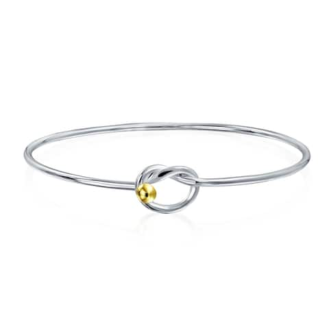 Two Tone Gold Plated Eternal Love Knot Bangle Bracelet Sterling Silver