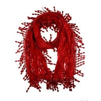 Women's Fancy Sheer Lace Scarf With Fringe Drops Burgundy Color