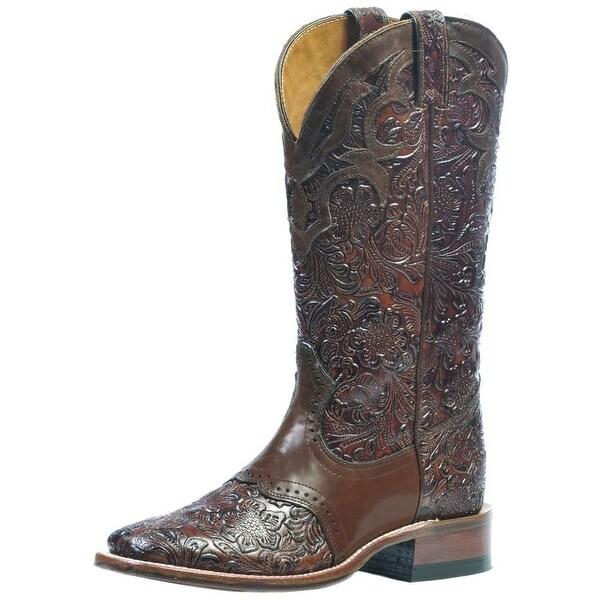 Boulet Western Boots Womens Cowboy Leather Dankan Brown Kastani