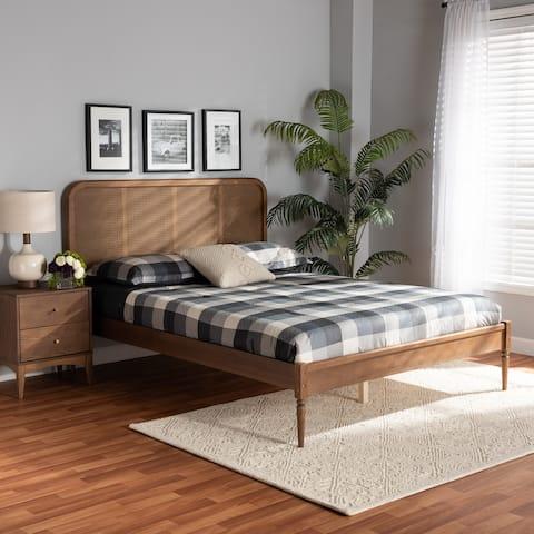 Elston Mid-Century Modern Synthetic Rattan Wood Platform Bed -Walnut