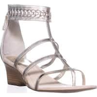 Lauren by Ralph Lauren Meira Wedge Gladiator Sandals, Silver