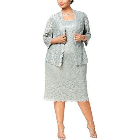 Alex Evenings Womens Plus Dress With Jacket Lace Midi
