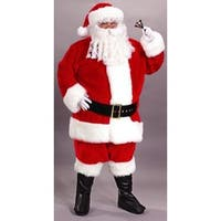 8-Piece Regency Plush Red And White Santa Claus Christmas Suit Costume- Adult 58-60