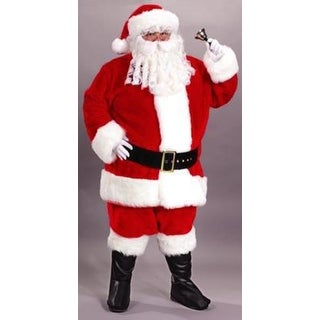 Red and White Regency Plush Santa Claus Adult Christmas Costume - Plus Size