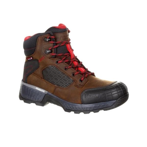 """Rocky Work Boots Mens Treadflex 6"""" Lace Up Dark Brown"""