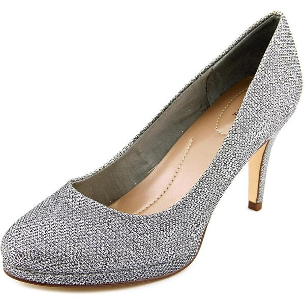Style & Co Nikolet Women Round Toe Canvas Silver Heels