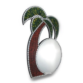 Tropical Mosaic Glass Palm Tree Wall Mirror - Multicolored