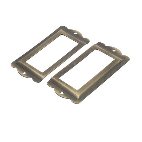 Box Drawer Cabinet Card Tag Label Holders Frames Bronze Tone 85mm x 42mm 2PCS