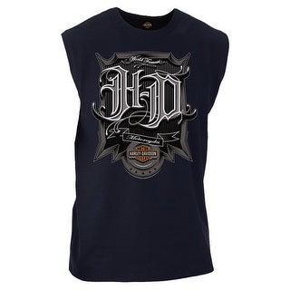 Harley-Davidson Men's Triumph H-D Graphic Sleeveless Muscle Tee, Navy Blue (Option: S)
