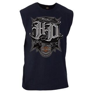 Harley-Davidson Men's Triumph H-D Graphic Sleeveless Muscle Tee, Navy Blue