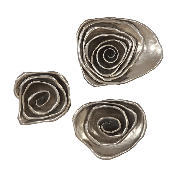 """Set of 3 Silver Floral Spiral Metal Hanging Wall Decor 14"""" - N/A"""