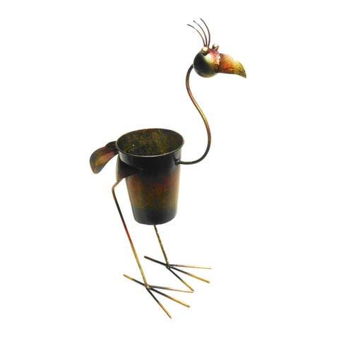 Offex Handmade Iron Multi Color Standing Rooster Planter Decor