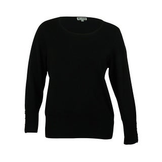 JM Collection Women's Round Neck Button Detailed Sweater