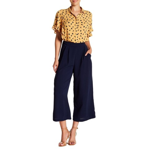Elodie Solid Navy Women's Cropped Flared Dress Pants
