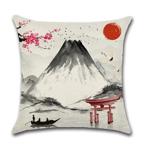 Mt Fuji and Japanese Pagoda Seen Decorative Throw Pillow Cover 18x18