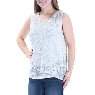 LUCKY BRAND $149 Womens New 1733 Ivory Embroidered Sheer Sleeveless Top M B+B